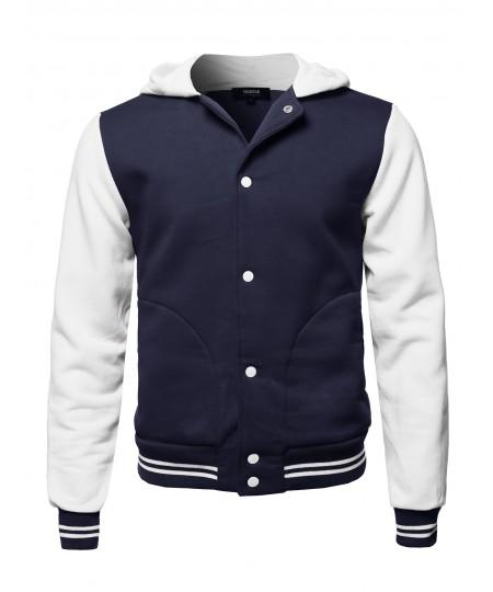 Men's Casual Baseball Fleece Hooded Varsity Jacket