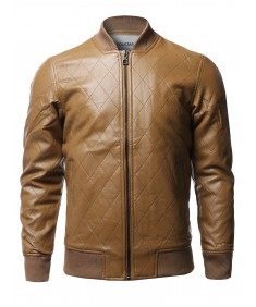 Men's Casual Faux Leather Long Sleeves Bomber Jacket