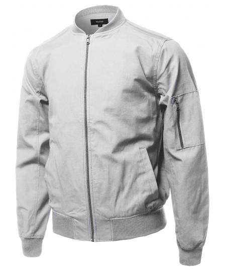 Men's Casual Basic Style Zip Up Sleeve Pocket Bomber Jacket