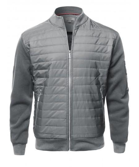 Men's Casual Zipper Closure Long Sleeves Light-Padded Bomber Jacket