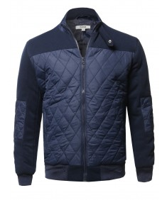 Men's Casual Quilted High Neck Bomber Jacket