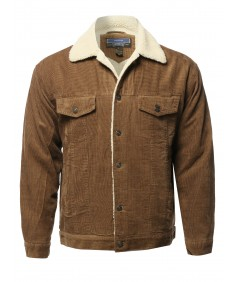 Men's Solid Corduroy Sherpa Lining Western Style Jacket