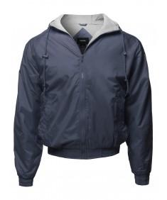 Men's Solid Waterproof Hooded Windbreaker Zip-Up Jacket