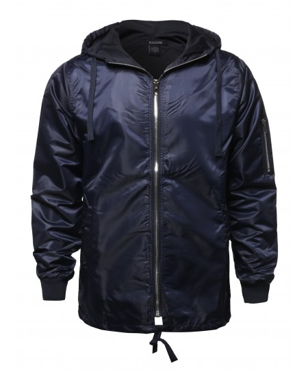 Men's Casual Solid Color Zipper Detail Waterproof Windbreaker