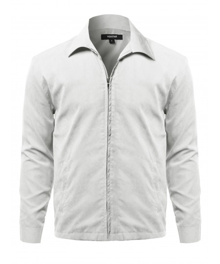 Men's Solid Classic Golf Long Sleeves Zipper Closure Thin Layer Jacket