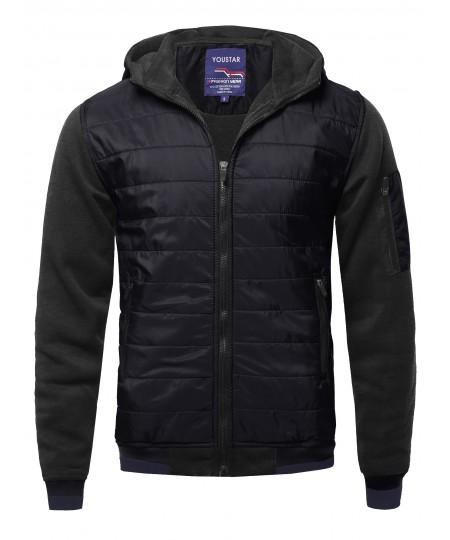 Men's Men's Solid Quilted Bomber Jacket