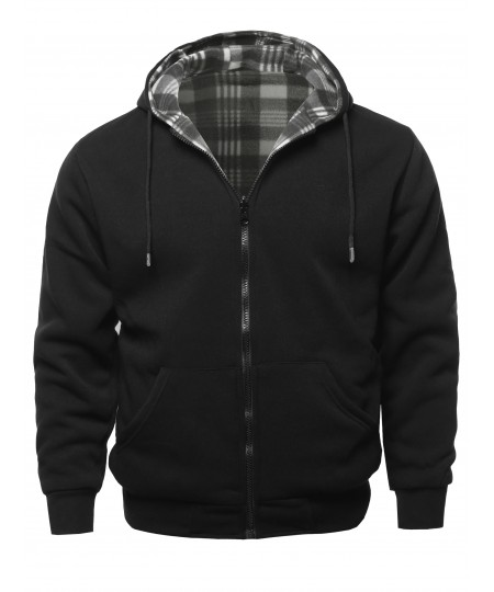 Men's Men's Hoodies Zip Up Reversible Winter Sweatshirt Jacket