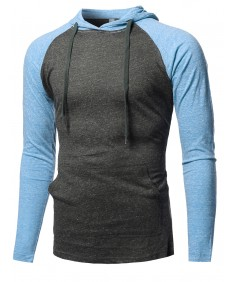Men's Casual Raglan Long Sleeve Kangaroo Pocket Hooded Top