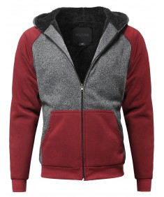 Men's Classic Sherpa Lining Raglan Sleeve Color Blocked Hoodie