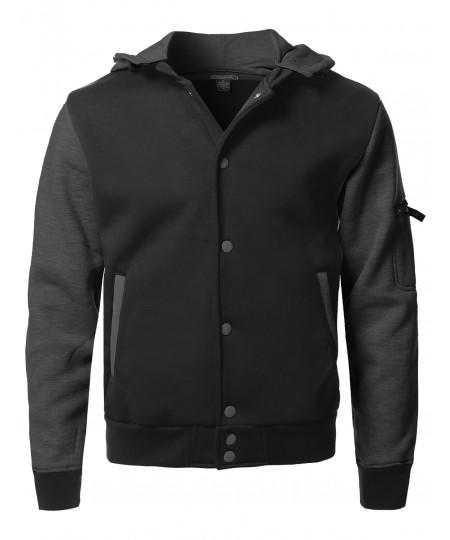 Men's Fleece Baseball Detachable Hoodie Varsity Jacket