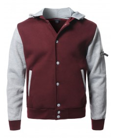 Men's Fleece Baseball Detachable Hoodie Varsity Jacket