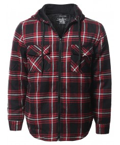 Men's Casual Long Sleeves Plaid Zip-Up Hoodie Shirt Jacket