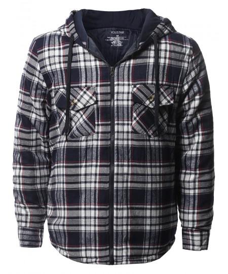 Men's Casual Long Sleeves Plaid Zip-Up Hoodie Shirt Jacket