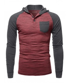 Men's Casual Raglan Long Sleeves Chest Pocket Hooded Top