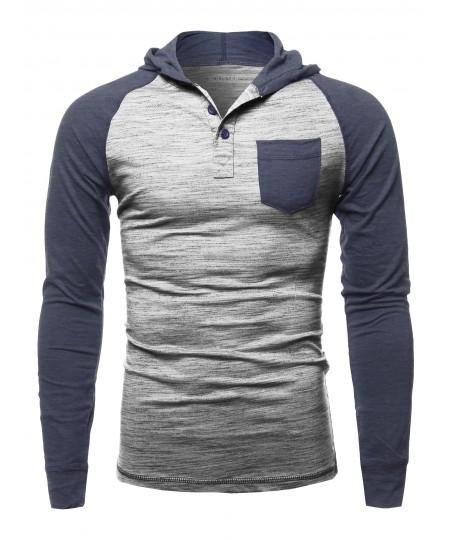 Men's Casual Raglan Long Sleeves Chest Pocket Hooded Top
