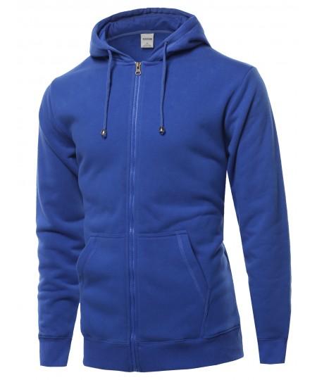Men's Solid Dry Fit Zip Up Hoodie
