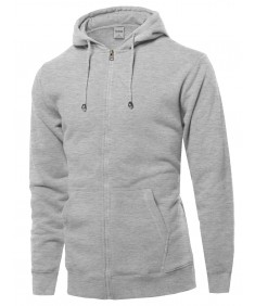 Men's Solid Dry Fit Zip Up Hoodie
