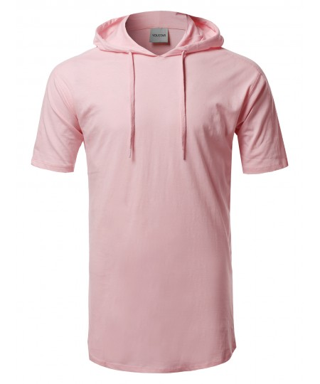 Men's Solid Drawstring Hood Short Sleeve Top
