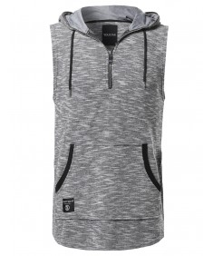 Men's Casual Active Sleeveless French Terry Kangaroo Pocket Drawstring Hoodie