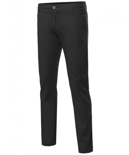 Men's Classic Stretch Slim Fit Pockets Chino Pants