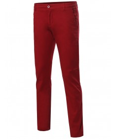 Men's Classic Stretch Slim Fit Pockets Chino Pants