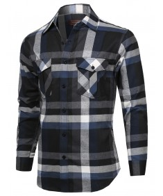 Men's Flannel Plaid Checkered Long Sleeve Woven Shirt
