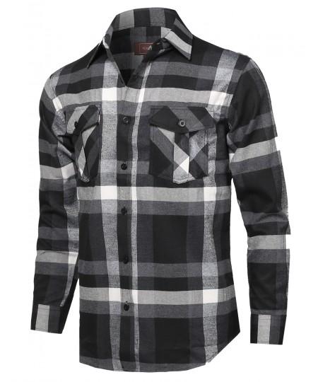 Men's Flannel Plaid Checkered Long Sleeve Woven Shirt