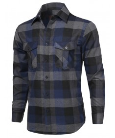 Men's Casual Flannel Plaid Checkered Long Sleeve Woven Shirt