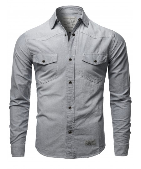 Men's Solid Long Sleeve Button Up Western Shirts