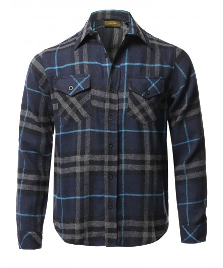 Men's Causal Cotton Fabric Long Sleeves Flannel Button Down Shirt
