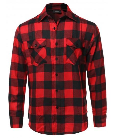 Men's Casual Flannel Long Sleeves Plaid Checker Shirt