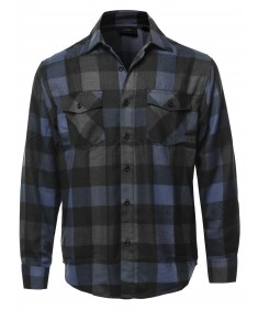Men's Casual Flannel Long Sleeves Plaid Checker Shirt