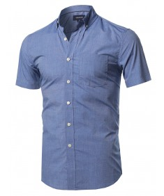 Men's Basic Chest Pocket Short Sleeve Button Down Point Collar Shirt