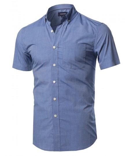 Men's Basic Chest Pocket Short Sleeve Button Down Point Collar Shirt