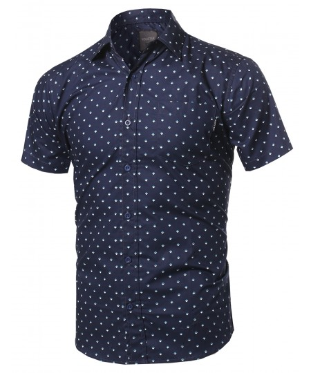 Men's Small Geometric Printed Button Down Short Sleeve Shirt