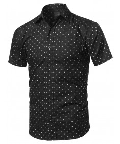 Men's Small Geometric Printed Chest Pocket Short Sleeve Shirt