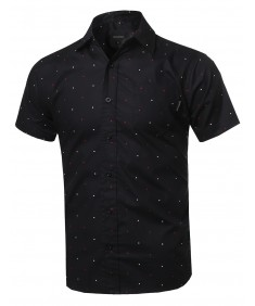 Men's Polka Dot Button Down Chest Pocket Short Sleeves Shirt