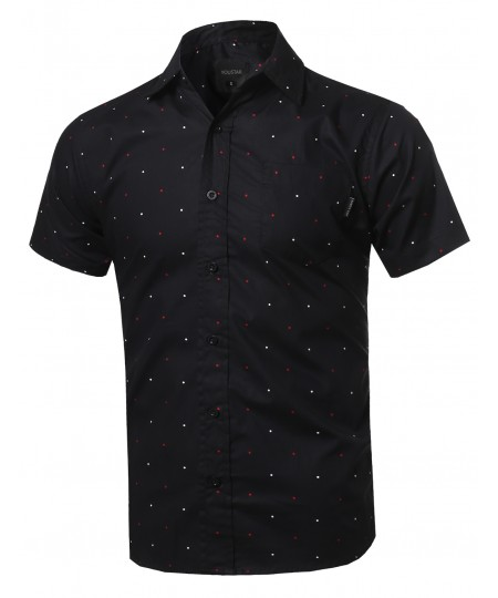 Men's Polka Dot Button Down Chest Pocket Short Sleeves Shirt