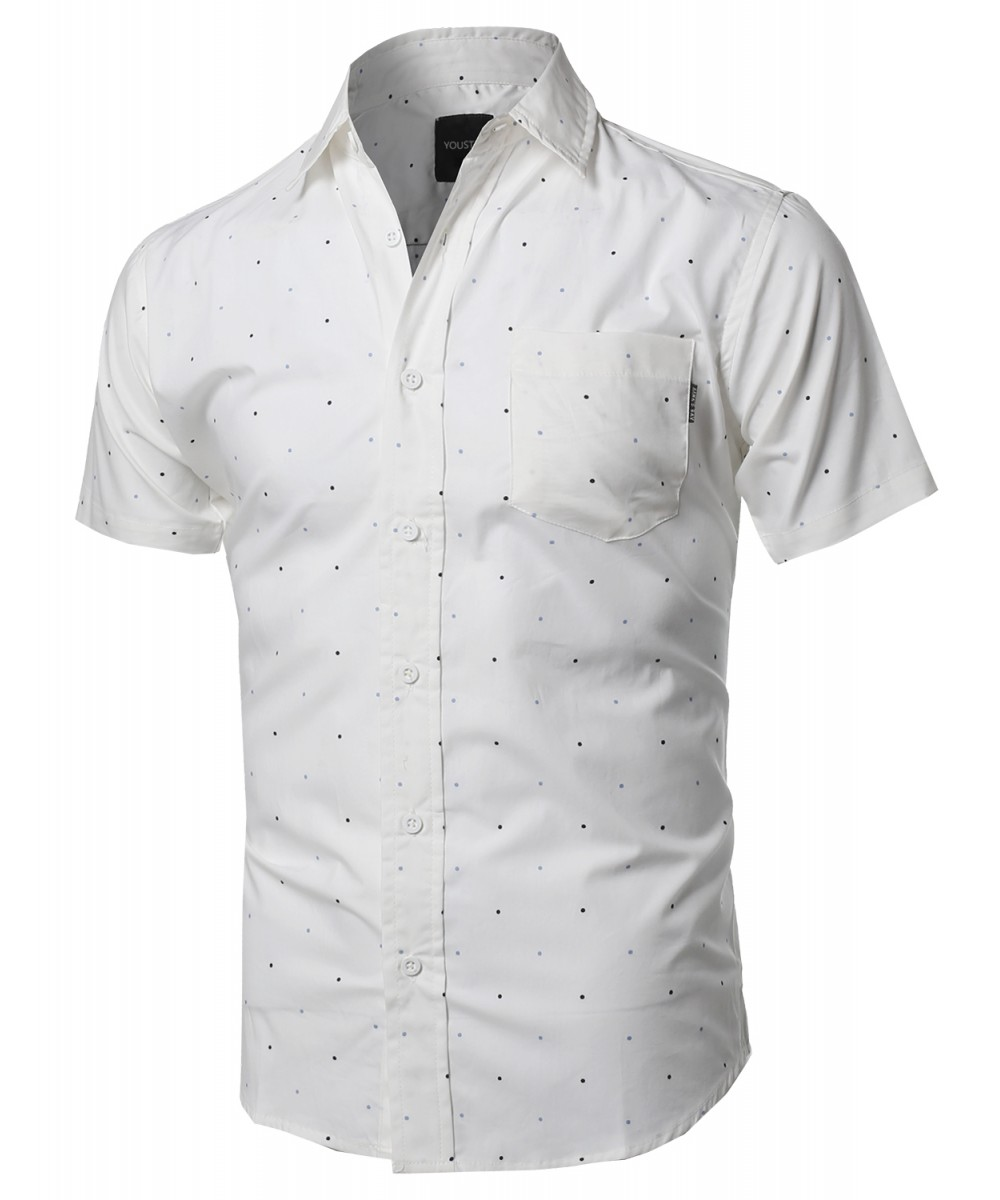 Mens Casual White Button Down Shirt Custom Shirt