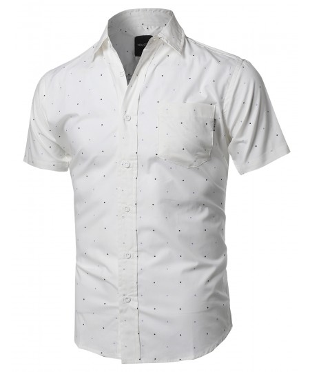 Men's Polka Dot Chest Pocket Button Down Short Sleeves Shirt