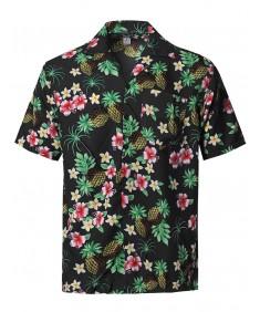 Men's Beach Hawaiian Tropical Caribbean Print Button Down Shirt