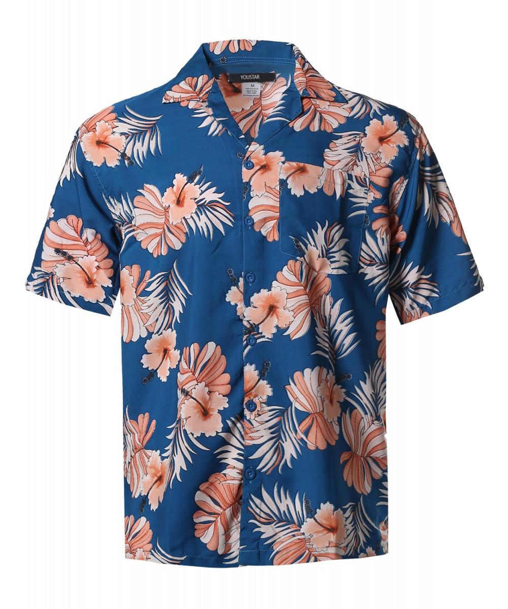 ec9d46af Men's Beach Hawaiian Tropical Caribbean Print Button Down Shirt ...