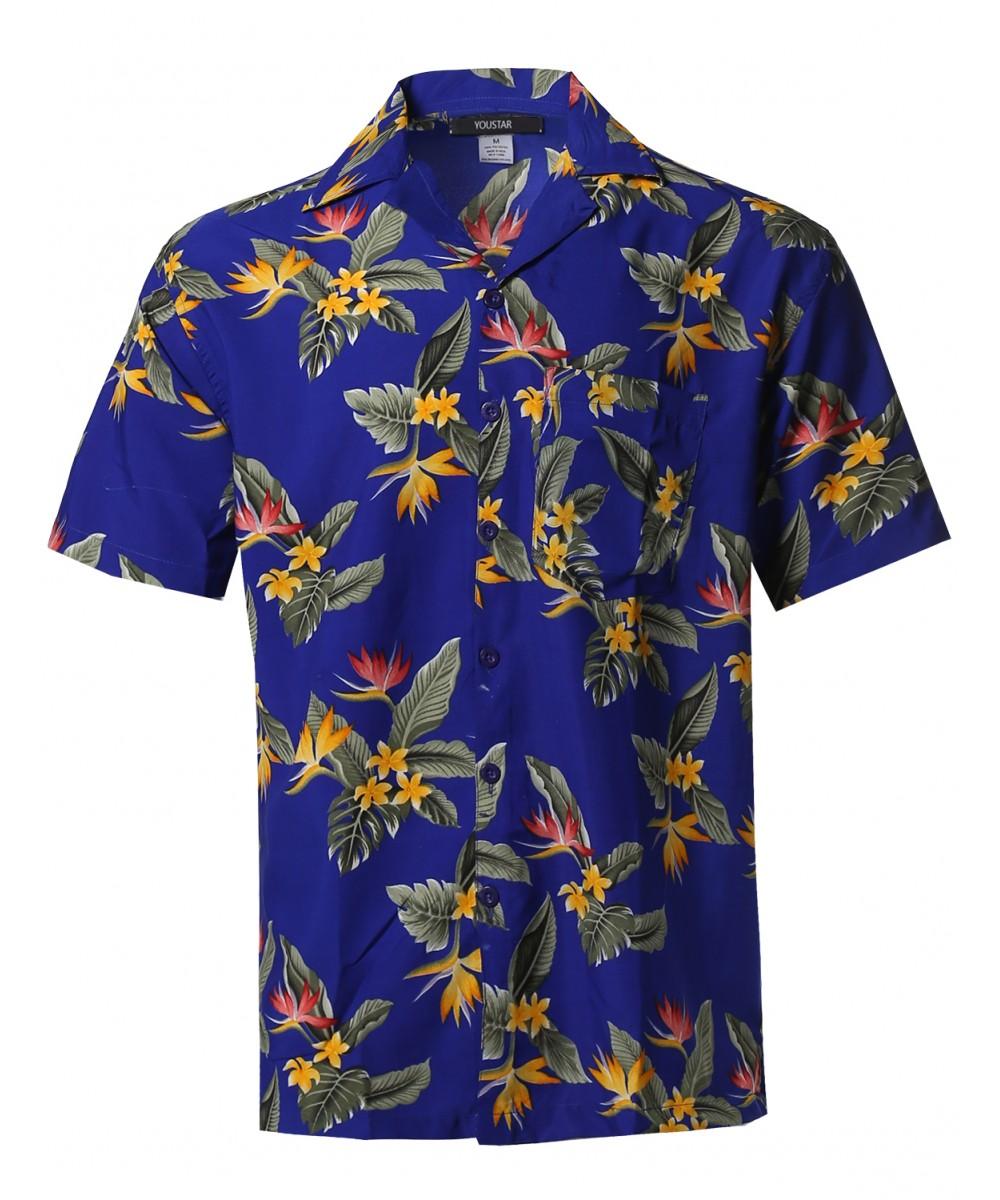 Men's Beach Hawaiian Tropical Caribbean Print Button Down ...
