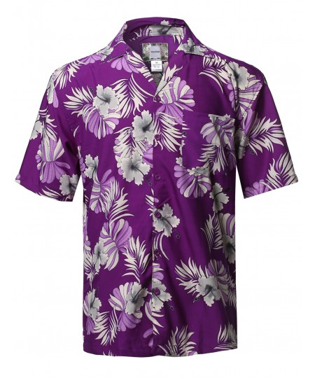 Men's Beach Hawaiian Tropical Caribbean Print Button Down Shirt