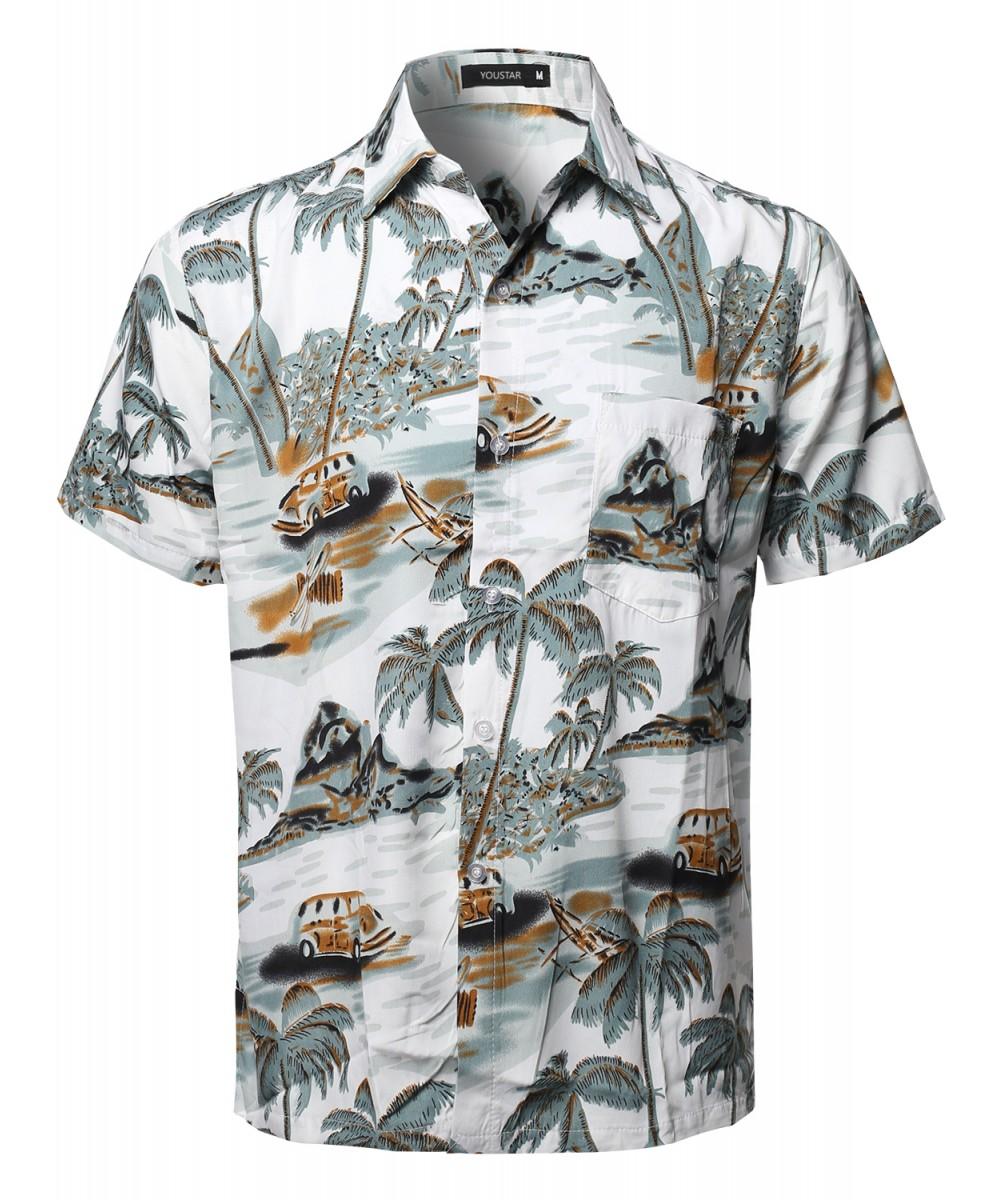 Men 39 s hawaiian tropical print button down short sleeve for Lsu hawaiian print shirts
