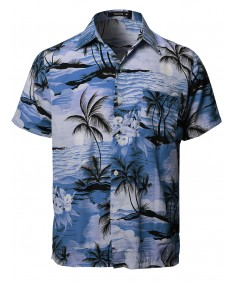 Men's Hawaiian Tropical Print Button Down Short Sleeve Shirt