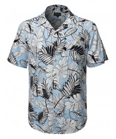 Men's Tropical Hawaiian Print Button Down Short Sleeves Chest Pocket Shirt