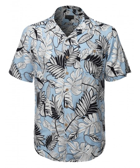 Men's Tropical Hawaiian Print Button Down Short Sleeves Chest Pocket Shirt