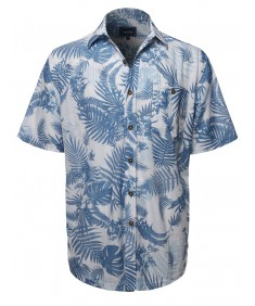 Men's Casual Hawaiian Print  Short Sleeve Button Down Shirts