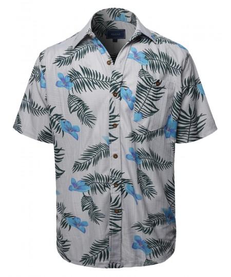 Men's Casual Hawaiian Print  Short Sleeve Button Down Shirts